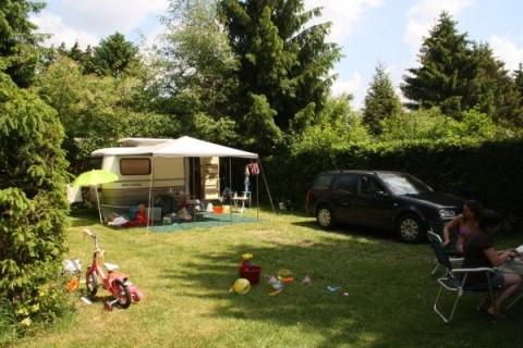 Kindvriendelijke camping De Blauwe Lantaarn kampeerplaats omringd met hagen