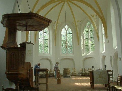 Kansel en interieur Nederlands Hervormde kerk Vledder fotograaf J.A. van Houttum-Lankhorst